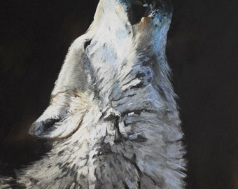 Hungry Like the Wolf mounted print of an original chalk pastel painting by Tracy Butler