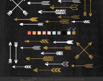 Arrows White & Gold Clip Art - Instant Download - CA047