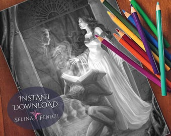 Coloring Pages Of Gothic Princesses : Gothic coloring etsy
