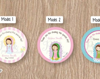 First Communion Favor Tags • Baptism Favor Tags • Cupcake Toppers (SET OF 12 PIECES) for Model