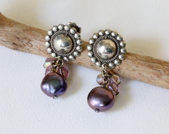 RESERVED Purple  Pearl  Silver Earrings  Purple Crystal and Pearl Earrings  Purple Sterling Silver Fashion Jewelry