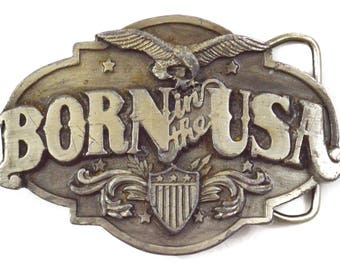 Vintage 80s Born in the USA Silver Belt Buckle