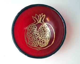 Pomegranate Small Fused Glass Bowl, Pretty, Fruit, Nature
