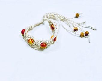 Macrame Fishbone Picot Sennit Hemp & Wooden Beaded Bracelet