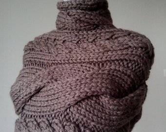 Hand knitted woman poncho, wrap, bolero, wool scarf, winter clothes, handmade knitwear, girl
