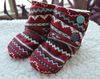 Stay On Baby Booties, Deep Red & Aqua Southwest Aztec, summer