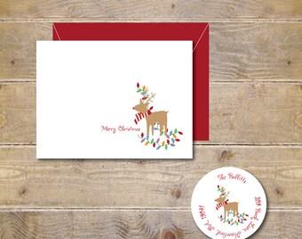 Rudolph, Christmas Cards, Holiday Cards, Christmas Card Set, Reindeer, Chirstmas Lights, Holiday Card Set, Handmade, Reindeer Cards