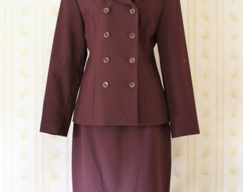 Early 90s AMANDA SMITH Petites Bordeaux Double Breasted Skirt Suit 6P