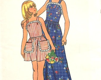 Girl's Short or Long Dress Size 12 Butterick 3691 Vintage Sewing Pattern