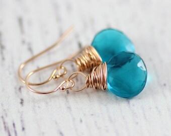 Teal Blue Earrings, Rose Gold Earrings, Bridesmaid Jewelry Gift, Gift for Her, Gemstone Dangle Earrings, Wire Wrap Earrings, Quartz Stone