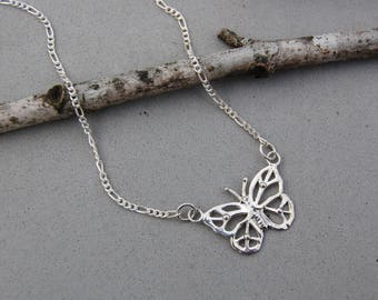 "Love Butterfly with Peace Symbol Wings Sterling Silver 18"" Dedicated Chain Hand Made"