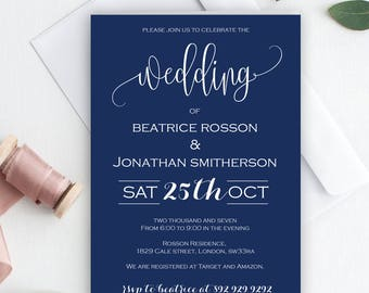 Navy Wedding Invitation Template - Wedding Printable Invitation - Navy and White - Modern Calligraphy - Downloadable wedding #WDH76NW