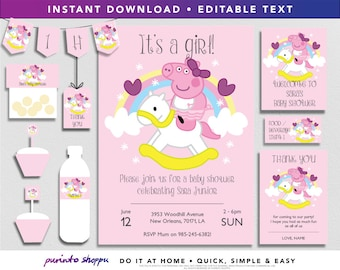 Peppa Pig Baby Shower It's a Girl Party Printables / Invitation - INSTANT DOWNLOAD - Fully EDITABLE text