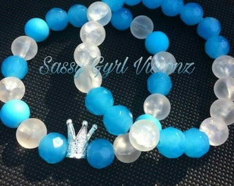 Beautiful blue bracelets, two stack bracelets, beaded bracelets, blue and white, crown charm