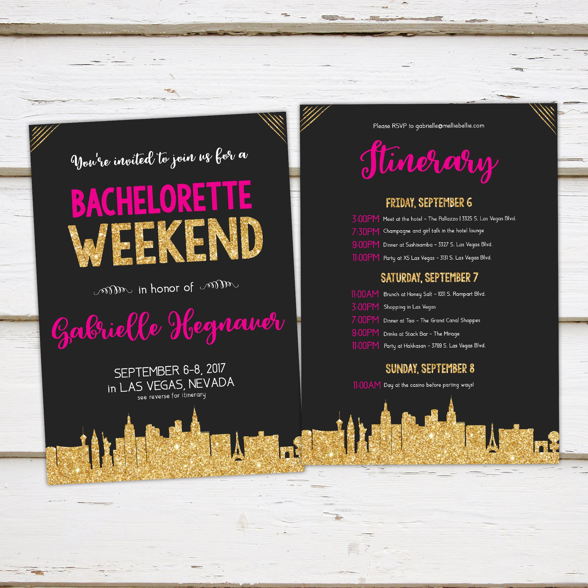 Printable Gold Pink Bachelorette Party Invitation with