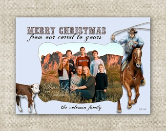 Cowboy Roping Merry Christmas From Our Corral To Yours Family Picture Customizable Printable Digital HOLIDAY Greeting