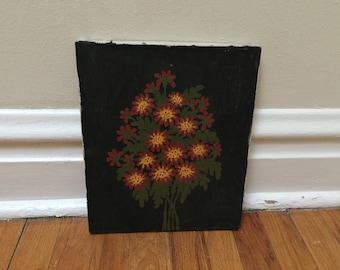 Flower Painting Black Red Green Yellow Bouquet Vintage Canvas Painting Folk Art Home Decor
