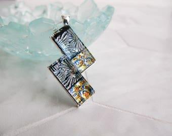 Fused Glass, dichroic glass, unique pendant, bar pendant, rectangle, tall necklace, statement piece, Glass Necklace, Handmade Glass Pendant