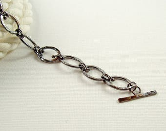 Oval Link Bracelet in Oxidised Copper, Hammered Copper Toggle Bracelet, Rustic Jewellery