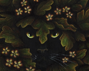 Greenman Cat Leaves 8x10 Fantasy Art Print