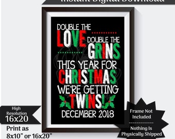 Christmas Twins Pregnancy Announcement Double The Love Pregnancy Reveal Due in December Baby Announcement Photo Prop Digital Download