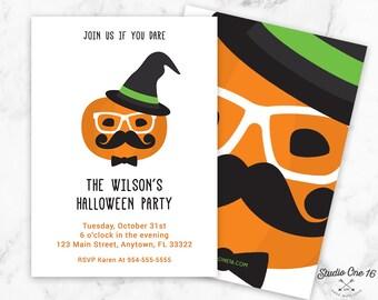 Halloween Invitation, Halloween Party Invitation, Halloween Invite, Costume Party Invitation, Halloween Pumpkin Invitation, Scary Halloween