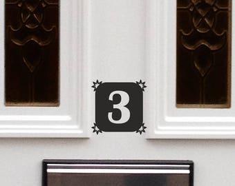 2 X House Number Sticker / Door Number Sticker / House Office Sign Door Design B