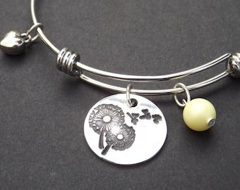 Dandelion Seeds bracelet, Dandelion puff charm bracelet, Some See a Weed bracelet, I See a Wish bracelet, Make a Wish charm bracelet