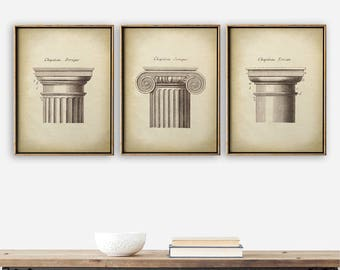 ARCHITECTURE Print SET of 3, Elegant Architecture Chapitel Posters, Ionic, Doric, Classical Architectural Drawing, Antique Architecture
