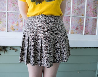 Vintage 80s Leopard Print Mini Skirt