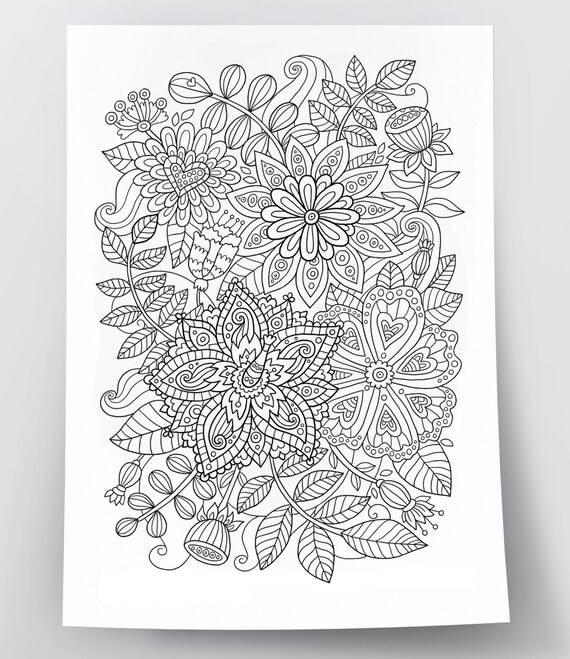 Adult coloring page: Flowers. Doodle art DIY coloring poster