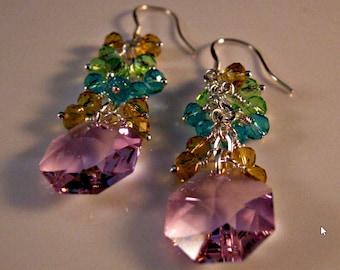 Pink Amethyst Cluster Earring,crystal earrings,dangle earrings,drop earrings,Swarovski earrings,crystal earrings,Swarovski crystal earrings