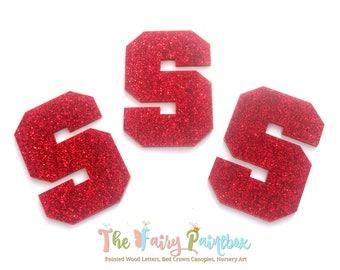 Glitter Monogram Letters - Glitter Wall Letters - Plastic Wall Letters - Plastic Scrapbook Letters - Embellishment Letters - Sports Letters