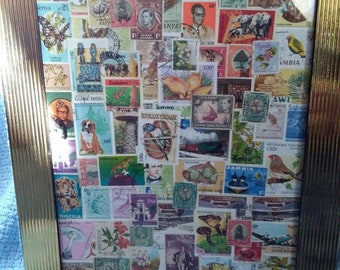 African Stamp Collection #1; Used Postage Stamps from various African countries; Collage; Stamp Art; Homemade; Handmade