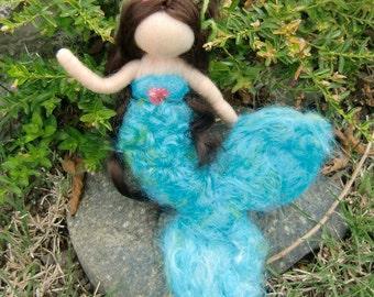 Mermaid and Her Treasure - Turquoise World Mermaid - Waldorf  Inspired Needle Felted Doll