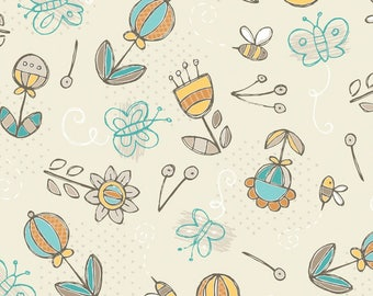 By The HALF YARD - Playground by Vita Mechachonis for Camelot, Pattern #1140602-03 Picking Flowers, Tossed Bees and Butterflies on Cream