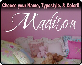 "Girls Personalized Custom Name Decal - Baby Nursery, girls bedroom vinyl wall art decal sticker,  23"" long!"