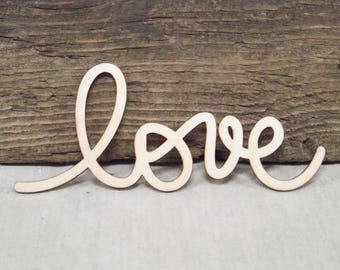 "Awesome ""Love"" Wooden Laser Cut Word For Wood Crafts, Signs, Scrapbooking Etc. - 2 1/2"" x 5 3/4"""