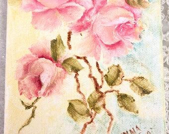 Shabby chic hand painted pink roses and oil on canvas