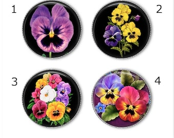 Pansy magnets or pins, Choose your own set of 4! Pansies, pansy buttons, pansy flowers, refrigerator magnets, fridge magnets, office magnets