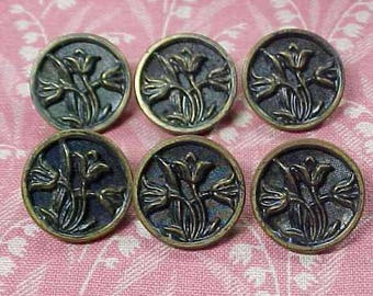 "Vintage set of 6 Floral Metal Picture Buttons 5/8"""
