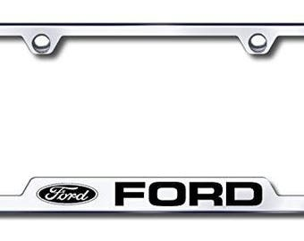 Ford License Plate Frame - Laser Etched Cut-Out Frame - Stainless Steel