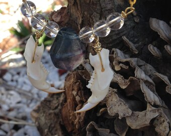 Real Animal Jawbone Necklace - Fluorite - Gray Squirrel Bones - Be Prepared - Improve Focus - Control Energy - Focus - Mountain Man - Pagan