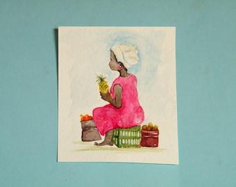 African fruit seller,  original watercolor painting in small format art