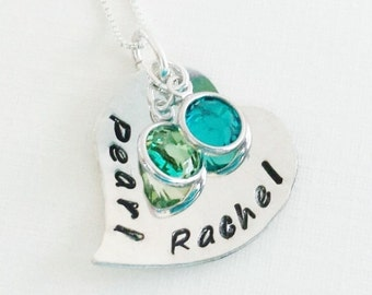 Hand Stamped Jewelry - Personalized Necklace - Necklace with Kids Names and Birthstones - Sterling Silver Heart Necklace - Heart Jewelry