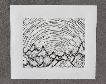 Cascades, 2017 (Original Hand-pulled Linocut)