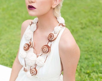 Beige Brown Ombre Long Crochet Necklace With Weaving and Romanian Point Lace Details