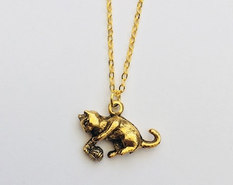 Gold Cat Necklace, kitten pendant, animal charm, cat themed jewellery ,  small cat