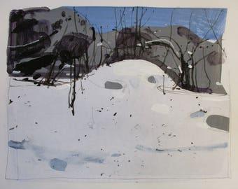 White Garden, Original Winter Landscape Collage Painting on Paper, Stooshinoff