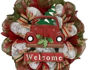 Burlap Deco Mesh Christmas Wreath Home For The Holidays Handmade